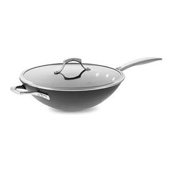 """Calphalon - Unison Nonstick 13"""" Flat-Bottom Wok with Lid - >With specially textured Sear Nonstick surface to seal in flavor, this flat-bottom wok is a kitchen essential. Adapted from a traditional round-bottom wok, this flat-bottom wok has a wide cooking surface ideal for stir-frying on gas or electric ranges. The domed cover is perfect for steaming and simmering soups. Features: -Heavy-gauge hard anodized aluminum construction provides superior conductivity and even, consistent heat - Will not chip, crack or warp. -Proprietary 3-layer specially textured Sear Nonstick surface seals in flavor. -Heats quickly and evenly. -Ergonomic stay-cool handle with helper handle. -Nonreactive with foods. -Domed tempered glass lid with stainless steel rim. Specifications: -Diameter: 13 in.. -Material: Heavy-gauge, hard anodized aluminum; Slide Nonstick interior. -Safe for use with nylon, coated or wooden utensils. -Oven safe to 500F / 260C. -Dishwasher safe. -Made in the USA. -Lifetime Warranty."""
