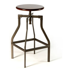 Hillsdale - Cyprus Backless Adjustable Swivel Stool - The Cyprus backless stool is an angular original for those looking for an eye-catching piece of contemporary design. It pairs a circular wood seat in a distressed cherry finish with narrow metal legs in a classic pewter hue.