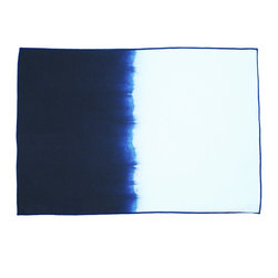 Calyz - Indigo Ombre Placemats, Set of 4 - These napkins are expertly handmade and hand-dyed by women artisans in India. The cotton and linen fabric is high-quality and easy to clean, and the stunning magenta-and-white ombre effect and stitching detail are sure to bring extra style and excitement to your dining room table. 65% LINEN/35% COTTON