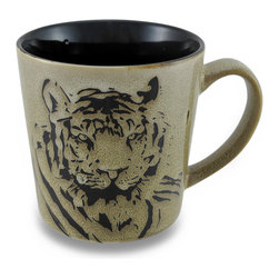 Zeckos - Beige and Black Tiger Face 13 Oz. Ceramic Coffee/Tea Mug - This is the perfect cup to get you 'roaring' in the morning It features a tiger's face on the smooth glossy beige background that looks like stone, and a contrasting black interior. Made from ceramic, it'll hold 13 ounces of your favorite beverage, and could also be used to serve up a yummy ice cream treat, a hot cup of soup or marshmallow topped hot cocoa on a cold winter's day at 4 inches tall, 3.75 inches diameter (10 x 9 cm), and 5.5 inches long including the handle, and is microwave and dishwasher safe. It makes a wonderful gift for a tiger enthusiast sure to be enjoyed
