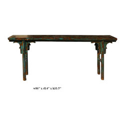 Chinese Glossy Lacquer Blue Green Rustic Narrow Table -