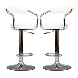 "LexMod - Diner Bar Stool Set of 2 in White - Diner Bar Stool Set of 2 in White - The 1950's Diner Bar Stool is a great choice for folks who want supreme comfort in a Bar Stool. Thick cushion greet the user like an old friend, and upholstered back rest invites you to lean back and relax. The base and pole's shiny chrome finish, give it a delightful retro feel; have the best of yesterday today. Set Includes: Two - 50's Diner Bar Stools Steel Frame, 3.5"" Inch Cushion, 360 degree Swivel, Adjustable Height Overall Product Dimensions: 18""L x 21""W x 34 - 42.5""H Seat Height: 24.5 - 33""H Armrest Height: 29.5 - 37.5""H - Mid Century Modern Furniture."