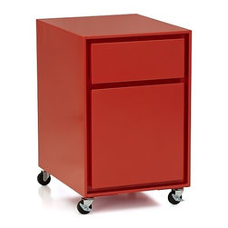 Milton Paprika Filing Cabinet - A streamlined, paprika, mobile, lighthearted file cabinet — what more can you ask for? I would love to have this little guy in my own office!