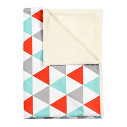 Aqua & Red Triangle Baby Blanket