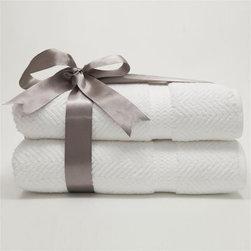 Luxury Hotel & Spa Herringbone Weave 100% Turkish Cotton Bath Towels - Set of 2 - With its sophisticated herringbone pattern and plush feel, the Luxury Hotel & Spa Herringbone Weave 100% Turkish Cotton Bath Towels - Set of 2 brings luxury home. This set includes two bath towels made of 100% Turkish cotton on a jacquard machine with a woven herringbone pattern. Washing just makes it softer. They come in a variety of spa-worthy color options and are presented in a velvet ribbon - perfect as a gift!