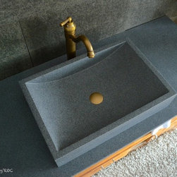 "TORRENCE 23""X16"" TRENDY GRAY GRANITE BATHROOM VESSEL SINK - Reference: BB511-US"