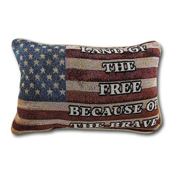 Manual - Land of the Free American Flag Woven Tapestry Accent Pillow - This patriotic accent pillow reminds all who view it that this is the 'land of the free, because of the brave.' Made of a polyester/cotton blend and filled with polyester stuffing, it measures 12 1/2 inches long by 8 1/2 inches high. Recommended care instructions are to spot clean or dry clean, only. It is a timeless accent to your home, and it makes a great gift for service members. This pillow was proudly made in the U.S.A.