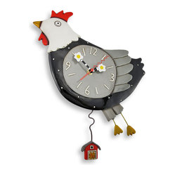 Allen Designs - Allen Designs `Flew the Coop` Chicken Wall Clock with Barn Pendulum - This country chicken has flown the coop, betting the farm and leaving it all behind. Designed by Michelle Allen, this cute clock is a wonderful addition to your kitchen. It has hand painted egg shaped hands, a swinging barn pendulum, and an overall whimsical quality that brings a smile to your face. Made of cast resin, it measures 13 1/2 inches long, 12 1/2 inches wide, and 2 1/2 inches deep. The clock contains a quartz movement and runs on 1 AA battery (not included). It makes a great gift for a friend that is sure to be adored, year after year.