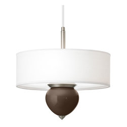 """Color Plus - Contemporary Carafe Cleo 16"""" Wide Pendant Chandelier - Designer Color + Plus pendant chandelier. With an exclusive Carafe brown color glass font. White fabric shade. Brushed nickel finish accents. 1/8"""" acrylic diffuser inside shade. Three maximum 60 watt or equivalent bulbs (not included).  Overall 16"""" wide 11 1/2"""" high. Shade only is 16"""" wide 5 1/2"""" high. Glass font only is 5 3/4"""" wide 6"""" high.  Fully adjustable up to 10 feet hanging height. 5"""" wide canopy.  Designer Color + Plus pendant chandelier.  With an exclusive Carafe brown color glass font.  Hand-crafted in California.  White fabric shade.  Brushed nickel finish accents.  1/8"""" acrylic diffuser inside shade.  Three maximum 60 watt or equivalent bulbs (not included).  Overall 16"""" wide 11 1/2"""" high.  Shade only is 16"""" wide 5 1/2"""" high.  Glass font only is 5 3/4"""" wide 6"""" high.   Fully adjustable up to 10 feet hanging height.  5"""" wide canopy."""