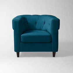 Chester Tufted Upholstered Chair, Lagoon Performance Velvet - I love anything tufted. This chair looks so comfortable too.