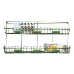 """Home Decorators Collection - Varden Wall Shelf - Featuring two separate shelves with trellis trim, our iron Varden Wall Shelf gives you plenty of storage space. Hang this stylish green wall shelf in your kitchen, bathroom or home office for a touch of cheerful color and extra storage. Made of galvanized iron wire. Distressed green finish. Top shelf is 2""""D. Bottom shelf is 3.75""""D. Each shelf holds 11 pounds."""
