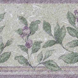 York Wallcoverings - Purple Grapes Leaves Wallpaper Border - Wallpaper borders bring color, character and detail to a room with exciting new look for your walls - easier and quicker then ever.