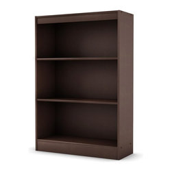 South Shore - 3 Shelf Bookcase in Chocolate Brown - Compact - Manufactured from eco-friendly, EPP-compliant laminated particle boardcarrying the Forest Stewardship Council (FSC) certification. 3 Shelves. Assembly Required. 11.5 in. W x 30.75 in. D x 45 in. H