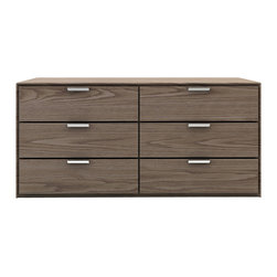 Modloft - Thompson Dresser, Walnut - The Thompson six-drawer split dresser with chrome handles matches any modern bedroom decor. Italian Danco-brand soft-closing hardware enables smooth and effortless drawer movement. Interior of drawers elegantly lined in light beige linenboard. Available in wenge or walnut wood finishes. Also available in white lacquer finish. No assembly required. Imported.