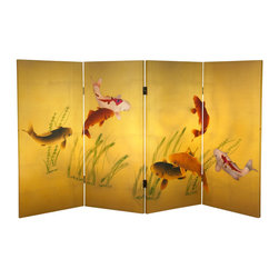Oriental Furniture - 3 ft. Tall Double Sided Seven Lucky Fish Canvas Room Divider - This beautiful folding screen depicts seven koi swimming in a shallow pool, their attention momentarily distracted by a ripple on the surface of the water. Celebrated for their beauty, koi have been cultivated for centuries in Japan and China, where they are displayed in ornamental pools. This three-foot folding screen features a unique perspective that mimics the surface of one of these koi ponds. Perfect for bringing the grace and serenity of Asian design to your home or business.