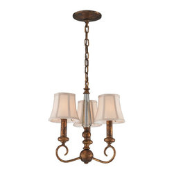 ELK Lighting - ELK Lighting Crestview 11332/3 Chandelier - Spanish Bronze - 12W in. - 11332/3 - Shop for Chandeliers from Hayneedle.com! The ELK Lighting Crestview 11332/3 Chandelier - Spanish Bronze - 12W in. is the perfect choice for any traditional home. It features a classic design with graceful curved arms and candelabra fixtures with bell-shaped cream fabric shades. This chandelier is finished in Spanish bronze which has an aged mottled look for an antiqued effect. This fixture comes with chain for installation and uses three candelabra bulbs (not included).Kichler QualitySince 1938 Cleveland-based Kichler Lighting has been known for their innovative designs and excellent craftsmanship. Kichler is the world's leading decorative lighting fixture company and the winner of four ARTS Lighting Manufacturer of the Year awards. Kichler designers travel the world to discover the latest trends in exterior and interior style colors and designs. They then translate the best of those trends into fixtures that will bring beauty pleasure and light into your home. Kichler fixtures stand the test of time and are functional works of art that you're sure to treasure.Please note this product does not ship to Pennsylvania.