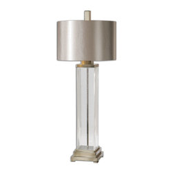Uttermost - Uttermost Drustan Clear Glass Table Lamp 26160-1 - Thick clear glass accented with brushed nickel plated details. The round hardback drum shade is a silken champagne bronze fabric with natural slubbing.