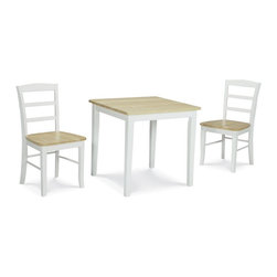 International Concepts - 3 Pc Dinette Table & Chairs Set in White & Na - Includes 1 square dinette table with butcher block tabletop and 2 Madrid chairs with box seat construction. Made of solid wood. Shaker style. Table: 30 in. L x 30 in. W x 29 in. H (44 lbs.). Chair: 19 in. W x 18 in. D x 34.25 in. H (36 lbs.), Seat Height: 18.15 in.