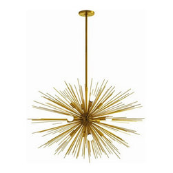 "Arteriors Home - Arteriors Home Zanadoo Antique Brass Chandelier, Large - Arteriors Home 89991 - Arteriors Home 89991 - The Large Zanadoo 12L Chandelier hangs at an adjustable height of 33"" - 45"" and a striking 36"" diameter. It is a glamorous reference to the starburst motif of the 60s and 70s but reinterpreted for a contemporary aesthetic. Finished in antique brass, this dramatic fixture will leave your living room, dining room or foyer dazzling beneath its presence. Includes cylindrical ceiling mount and (1) 6"" and (2) 12"" rods."