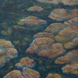 Rocky Stream (Original) by Robyn Ryan - This Acrylic Layers painting was inspired by a mountain stream near Graves Mountain Lodge in Syria, Virginia.  The texture of the rocks and the movement of the water lend themselves to this very organic technique.  Layers of Acrylic paint and Acrylic gel allow the viewer to see through the physical layers of the painting and the underlying colors sparkle through.