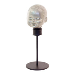 Heads Up Figurine - With a nod to vintage decor, this is no bobblehead���it's a piece that's all about retro style. Place it on a coffee table for a talking head conversation.