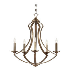 Transglobe Silver Leaf 70306 5 Light Chandelier - Winter Gold - Accentuate your living space with the contemporary Transglobe Silver Leaf 70306 5 Light Chandelier - Winter Gold. The sturdy subtle curves of this chandelier showcase an ambient glow from its five 60-watt E12 bulbs (not included). Its warm, vintage appeal is embellished with an antique silver finish complemented by an open candle frame. Includes a six-foot wire and chain for optimal height adjustments.