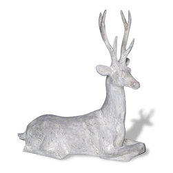 Amedeo Design, LLC - USA - Resting Stag Deer Statue - Our Stag Deer is beautifully stylized and crafted. Our deer can be statement pieces inside or out. Though they look like ancient European & Mediterranean designs in carved stone Made in USA.