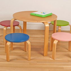 Kid's Table and Four Stool Set - I love the shape and colors of this little table and stools set. It would be so inviting for kids!