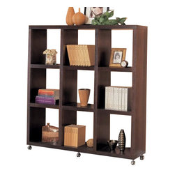 "Coaster - Bookshelf (Cappuccino) By Coaster - Contemporary style. Nine shelves. Clean lines. Six casters at base for mobility. Deep cappuccino finish. 66 "" W x 13.75 "" D x 69.25 "" H.  This beautiful contemporary cube bookcase will quickly jazz up your wall in a living room, family room, or hallway. Great for books, framed photos, storage baskets and you favorite decorative accent items. Create a cool style in your home with this beautiful wall shelf unit."