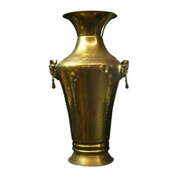 Used Large Vintage French Renaissance Brass Vase - Dating to the 1950s, this large vintage brass vase was found at a French street market! If you support the Colorado State Rams or the Saint Louis Rams, you need this large vintage brass vase in your home! The large horned ram's heads will help you cheer on your favorite team through the whole year!    Overall Condition is Used - Good. Shows normal wear to the finish and miscellaneous nicks, dings, and scratches due to age and use. Photo shows a dent in one side, but it has been mostly hammered out.