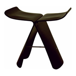 Baxton Studio - Baxton Studio Dark Brown Bentwood Chair - Many uses - in the home, office, cafe, reception area, or training room. Executed using the pressed plywood molding technique, this graceful stool surely upgrades your deco. No assembly required.