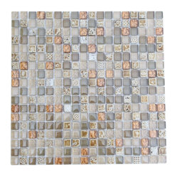 Alloy Deco Egyptian Sand Glass Tile - A soft, lovely take on mosaic glass tile, this version is the right fit for your dream bathroom or kitchen. Muted shades of beige, cream, copper and gold are sprinkled throughout, setting a spa-like mood right in your own home. Mesh backing makes installation a snap.