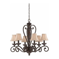 Triarch - Triarch Jewelry Chandelier X-34413 - The Jewelry Collection 6-Light Chandelier in Harvest Bronze with Mosaic Glass Accents on the center column and the bobesches