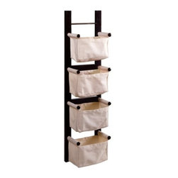 Winsome Wood - Storage-Magazine Rack with 4 Canvas Baskets - Our Storage/ Magazine Rack is a convenient and attractive storage unit that has ability to hang vertically or horizontally. It comes with 4 canvas baskets that are great to keep your room in order.