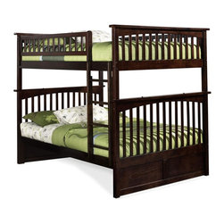 Atlantic Furniture - Columbia Full Over Full Bunk Bed in Antique W - Comes with a slat kit for mattress support. Includes two 14 pieces engineered hardwood slat kits. Made of premium, eco-friendly hardwood with a 5-step finishing process. Solid hardwood Mortise & Tenon construction. 26-Steel reinforcement points. Designed for durability. Guard rails match panel design. Meet or exceed all ASTM bunk bed standards, which require the upper bunk to support 400 lbs.. Weight Limit: 400 lbs.. Clearance from floor without trundle or storage drawers: 11.25 in.. 80.5 in. L x 58.38 in. W x 68.13 in. H. Optional flat panel drawers: 74 in. L x 22 in. W x 12 in. H. Optional raised panel drawers: 74 in. L x 24.38 in. W x 12 in. H. Optional raised panel trundle: 74.75 in. L x 40.38 in. W x 11.63 in. H. Bunk Bed Warning. Please read before purchaseThe Columbia bunk bed features a classic Mission style design with subtle curves and solid post construction.