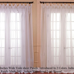 Doublewide Voile Sheers - These beautiful and classic double wide solid voile poly sheer curtain panels come two in the set for extra value. These sheer panels are unmatched in quality and design. They create a warm atmosphere with beautiful light diffusion.