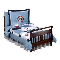Sweet Jojo Designs - Come Sail Away Toddler Bedding Set - The Come Sail Away 5-piece toddler bedding set will help you create an incredible room for your child. This nautical boy bedding set combines solids and stripes in a quilted pattern with embroidered appliques of helm wheels, anchors, boats, and lighthouses. This collection uses the stylish colors of chambray blue, navy, white, red and yellow. The design uses 100% cotton fabrics that are machine washable for easy care. this wonderful set will fit all crib and toddler beds. Your 5-piece toddler bedding set includes a comforter, fitted sheet, flat sheet, pillow sham, and pillow case.
