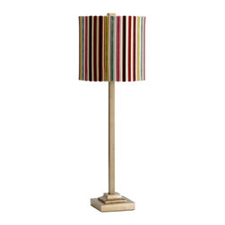 Cyan Design - Cyan Design Santa Cruz Transitional Table Lamp X-81840 - From the Santa Cruz Collection, this Cyan Design table lamp features clean lines and simple but elegant details. The slender frame is paired with a traditional square beveled base. The Gold finish compliments the colorful striped fabric drum shade, completing the look.