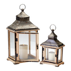 Kathy Kuo Home - Oxford Rustic Lodge Iron Wood Candle Lanterns- Set of 2 - The natural beauty of candlelight deserves a great presentation, and this lovely set of lanterns has certainly taken this to heart. These two look like they were plucked from the entryway of an old French farmhouse or perhaps a souvenir of a home in colonial Indochina. Rustic, contemporary, Asian... you name it, these two can do it!