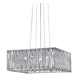 Z-Lite - Z-Lite 872CH-P Chrome Terra 5 Light Full Sized Pendant with Silver Shade - Sparkling crystals shine beautifully on this exquisite five light fixture, and are paired perfectly with chrome hardware. Adjustable cable is included to ensure the perfect hanging height.
