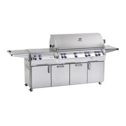 Fire Magic Echelon Diamond E1060s Cabinet Grill with Double Side Burner - The product specialists at Hayneedle have been extensively trained by the manufacturer of Fire Magic grills. These specialists know the product inside and out, top to bottom, front to back. They're here to help you with every step of your Fire Magic grill purchasing process. Learn everything you need to know as you customize your grill island with drawers, doors, pizza ovens and more! Call 866-579-5183 to speak with a product specialist and start building your dream grill island today. Hours: Monday-Friday 9 a.m.-7 p.m. E.T.Outfit your outdoor kitchen with the granddaddy of gourmet grills, the Fire Magic Echelon Diamond E1060s Stand Alone Grill with Double Side Burner. An incredible Echelon Diamond 1060s grill head sits in a stainless cart with dual built-in side burners for a complete luxury outdoor cooking experience. The main grill's large 1,056-square-inch cooking surface is powered by four stainless steel E-shaped burners that distribute more BTUs per square inch - more evenly - than any other burner on the market. Supported below with stainless steel flavor grids and heat zone separators that allow true custom cooking, a full stainless steel grid makes perfect sear marks on all your food. Dual recessed rotisserie burners sit in the back of the grill body, independently controlled for a slow-cook or a quick sear. To take advantage, skewer your favorite meats on the ball-bearing supported rotisserie spit rod with a high-torque motor and counterbalance. There's also a dedicated 3,000 BTU smoker box burner - just add wine, water, wood chips, and more for a bold infusion of flavor. It's not all about brute toughness here, though - there are sophisticated electronics at work, too. LED backlit safety knobs, an advanced hot surface push-button ignition, halogen lamps, and an analog thermometer are all built in.Grill FeaturesExclusive cast stainless steel E-shaped main burners - a shape that allo