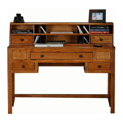 Eagle Industries - Oak Ridge Writing Desk w Hutch (Dark Oak) - Finish: Dark Oak. Includes desk and hutch. One Keyboard pencil drawer combo, two drawers. Hutch consists of three fixed wooden shelves, two adjustable wood shelves and one raised panel door. Hutch consists of eight mail slots and two drawers. Designed with straight leg base, fluted detailing, finished back. Made from oak solids and veneers. Warranty: Eagle's products are guaranteed against material defects for one year from date of delivery to the dealer. Made in USA. No assembly required. Desk: 50.75 in. W x 22.75 in. D x 32 in. H (79.7 lbs.). Hutch: 50.75 in. W x 12.25 in. D x 10.75 in. H (43 lbs.)The Oak Ridge collection combines American oak hardwood with updated contemporary styling. Heavy crown molding, sleek lines, fluted side molding, black brushed metal hardware, solid oak frames and solid oak recessed doors give this transitional collection a style all its own