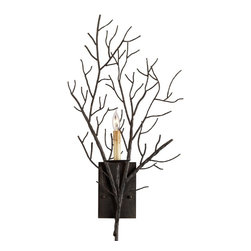 Currey & Company - Midwinter Wall Sconce - A tree branch is recreated using forged iron? This wall sconce adds lots of drama to a sophisticated or casually designed room. Wall sconces are sold as pin-ups which allows them to be either hardwired or plugged in.