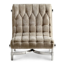 Mr. Winston Chair - The cathedral geometry of its deep back tufting lets the Mr. Winston Chair, an exquisitely comfortable raked-back seat, feel like a turn-of-the-century magnate's favorite spot for reclining, and the slightly tweedy stone-colored upholstery contributes to this impression. A sturdy steel frame adds a note of the urban to this relaxing transitional furnishing.