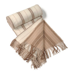 Kuna - Journey Throw, Brown - Large tone on tone stripes and natural muted colors with a substantial fringe lend this luxurious throw to many uses.