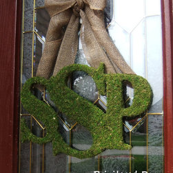 Fall Wreath, Moss Monogram by Privileged Door - Have you ever seen such a pretty monogram? I love the moss letters and burlap ribbon. This may need to grace this (almost) newlywed's door this season.