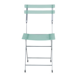 Cannes Folding Chair (Set Of 4)-Green/Alu - When you need to provide some extra seating in your space, just unfold this smart-looking chair and voilà! A little twist in the design of the seatback frame makes the chair all the more charming.