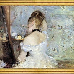 "Berthe Morisot-18""x24"" Framed Canvas - 18"" x 24"" Berthe Morisot Young Woman at the Mirror (also known as Young Girl Getting Dressed, Seen from the Back) framed premium canvas print reproduced to meet museum quality standards. Our museum quality canvas prints are produced using high-precision print technology for a more accurate reproduction printed on high quality canvas with fade-resistant, archival inks. Our progressive business model allows us to offer works of art to you at the best wholesale pricing, significantly less than art gallery prices, affordable to all. This artwork is hand stretched onto wooden stretcher bars, then mounted into our 3"" wide gold finish frame with black panel by one of our expert framers. Our framed canvas print comes with hardware, ready to hang on your wall.  We present a comprehensive collection of exceptional canvas art reproductions by Berthe Morisot."