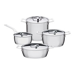 Alessi - Pots & Pans - 8 pc. Set by Alessi - The Pots & Pans 8 pc. Set by Alessi, designed by Jasper Morrison. Pots & Pans is one of the most complete saucepan sets on the market.  Each piece is made from 18/10 stainless steel with an aluminum and steel heat radiating base.  All handles are stainless steel.  The pots are suitable for induction heating, gas rings, electric plates ceramic hobs and for use in the oven. All Pot & Pans are dishwasher safe.