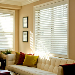 "Norman Ultimate 2"" Faux Wood Blinds - The Ultimate 2"" Fauxwood Blind comes standard with non-slip the patented SmartPrivacy slats for perfect privacy and slat closure."